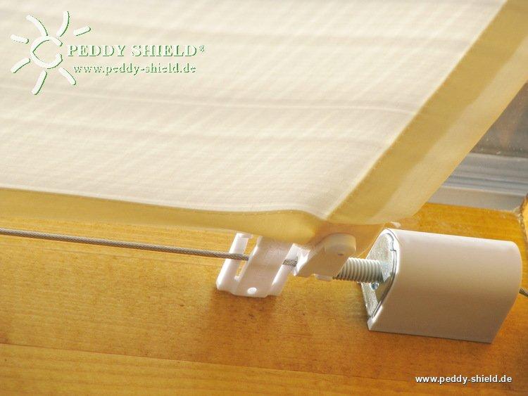 sonnensegel terrassendach 58 x 275 cm uni wei komplett mit 26x laufhaken 2x stopper f r. Black Bedroom Furniture Sets. Home Design Ideas