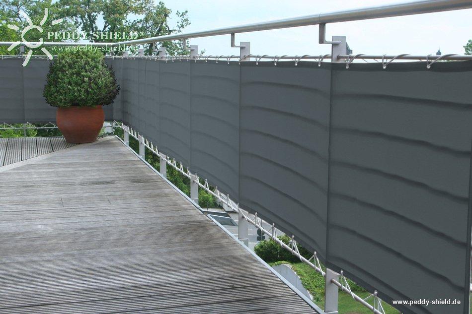 Sichtschutz Am Balkon | Balkonverkleidung 75x300 Cm Farbe Anthrazit Textiler Sichtschutz