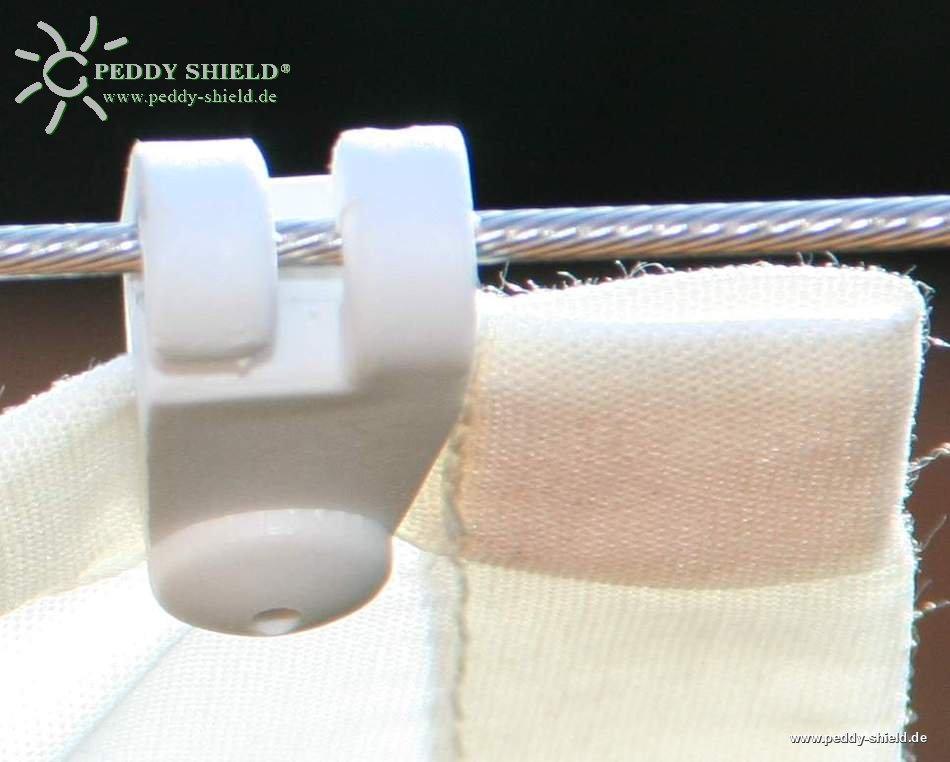 sonnensegel fertigma 330 x 140 cm farbe uni wei mit 26x speziallaufhaken auch f r die. Black Bedroom Furniture Sets. Home Design Ideas