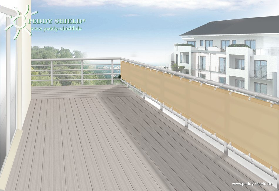 fotogalerie balkonblende b75 x l300 cm farbe uni sisal hochwertiger sichtschutz terrasse. Black Bedroom Furniture Sets. Home Design Ideas