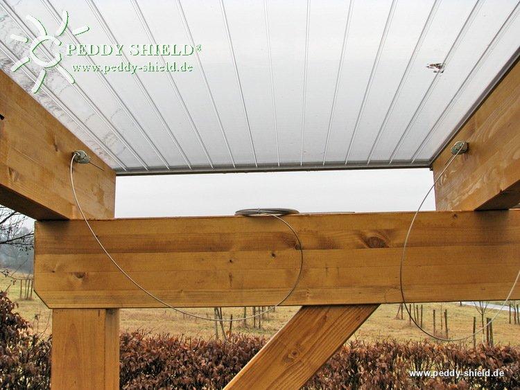 fotogalerie waschbares sonnensegel glas berdachung 61 x 330 cm uni wei mit 34x laufhaken. Black Bedroom Furniture Sets. Home Design Ideas