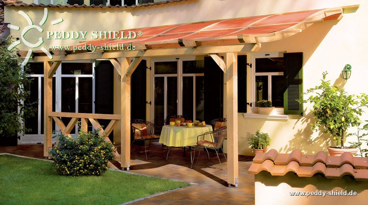 pergola toscana mit sonnenschutzsegel terracotta. Black Bedroom Furniture Sets. Home Design Ideas