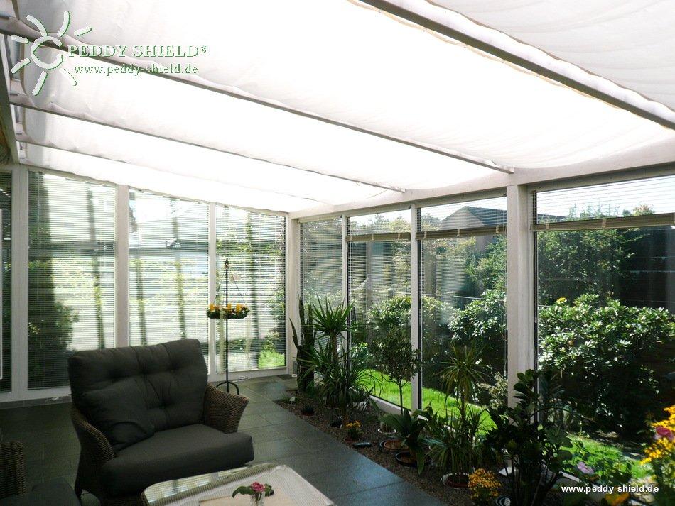 fotogalerie sonnensegel wintergartenbeschattung 96 x 330 cm uni wei mit 34x laufhaken 2x. Black Bedroom Furniture Sets. Home Design Ideas